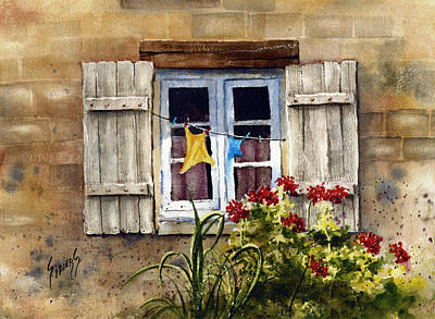 Laundry Painting - Shutters by Sam Sidders