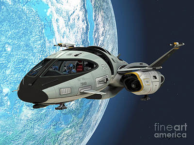 Starcraft Painting - Shuttlestar In Earth Orbit by Corey Ford