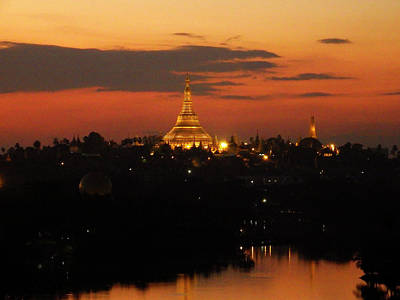 Photograph - Shwedagon Pagoda Skyline At Sunset by Kurt Van Wagner