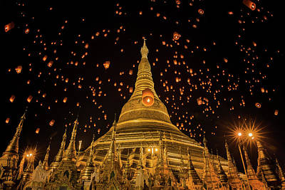 Shwedagon Temple In Yangon Art Print by Anek Suwannaphoom