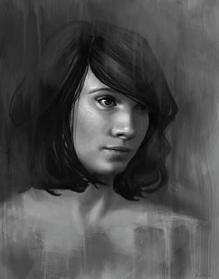 Portrait Digital Art - Shy - Black And White by Angela Murdock