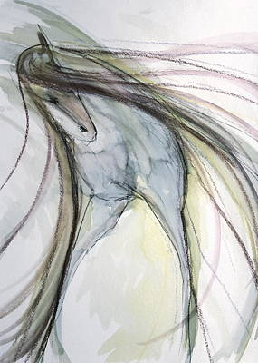 Sporthorse Mixed Media - Shy Friend by Jennifer Fosgate