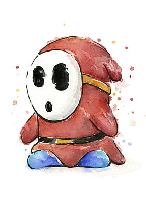 Shy Guy Watercolor Original by Olga Shvartsur