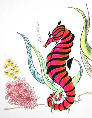 Shy Seahorse -- Whimsical Sea Hourse/ Underwater Scene Original by Jayne Somogy