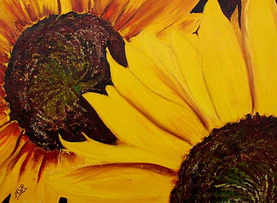 Shy Sunflower  Art Print by Maria Soto Robbins