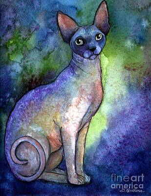 Watercolor Pet Portraits Wall Art - Painting - Shynx Cat 2 Painting by Svetlana Novikova