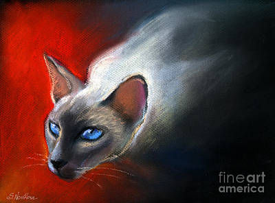 Watercolor Pet Portraits Painting - Siamese Cat 7 Painting by Svetlana Novikova