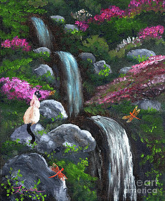 Siamese Painting - Siamese Cat And Dragonflies by Laura Iverson