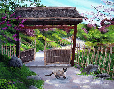 Painting - Siamese Cat At Hakone Side Gate by Laura Iverson