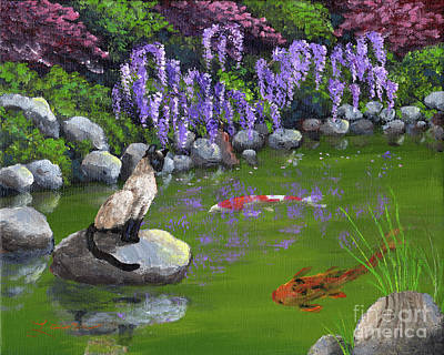 Japanese Garden Painting - Siamese Cat By Wisteria by Laura Iverson