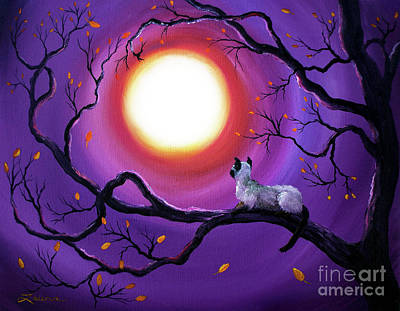 Laura Iverson Royalty-Free and Rights-Managed Images - Siamese Cat in Purple Moonlight by Laura Iverson