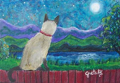 Gretzky Painting - Siamese Cat In The Moonlight by Paintings by Gretzky