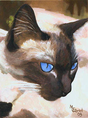 Painting - Siamese Cat by Mary Jo Zorad