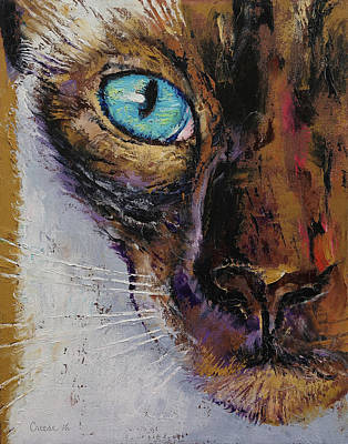 Persian Cat Wall Art - Painting - Siamese Cat Painting by Michael Creese