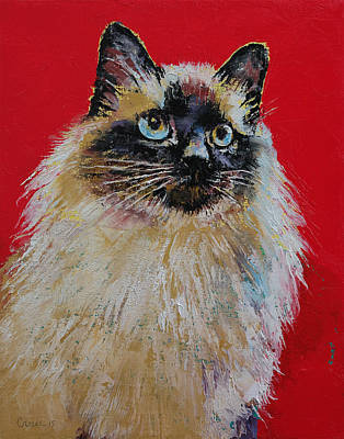 Persian Cat Wall Art - Painting - Siamese Cat Portrait by Michael Creese