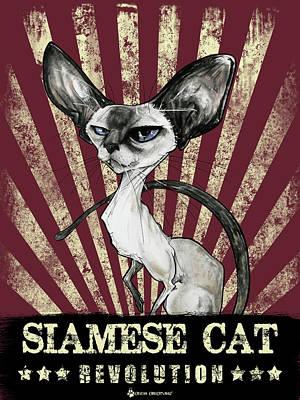 Drawing - Siamese Cat Revolution by John LaFree