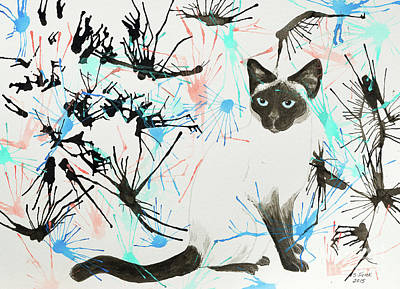 Painting - Siamese Cat Splatter by Stefanie Forck
