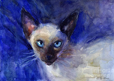 Watercolor Pet Portraits Painting - Siamese Cat  by Svetlana Novikova