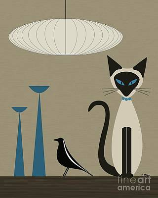 Eames Digital Art - Siamese Cat With Eames House Bird by Donna Mibus