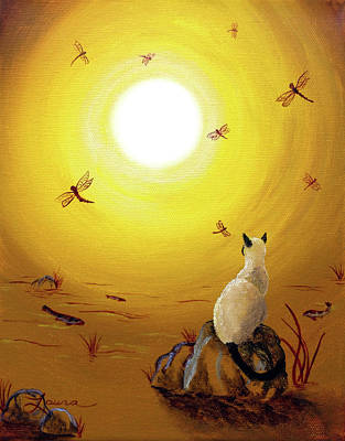 Cat Sunset Painting - Siamese Cat With Red Dragonflies by Laura Iverson