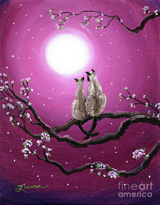 Pink Abstract Painting - Siamese Cats In Spring Blossoms by Laura Iverson