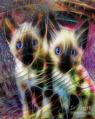Digital Art - Siamese Cuties by John Robert Beck