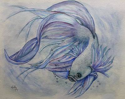 Painting - Beta Siamese Fighting Fish by Kelly Mills
