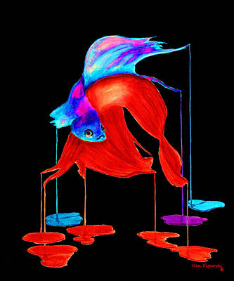 Siamese Fighting Fish Painting - Siamese Fighting Fish On Black by Ken Figurski