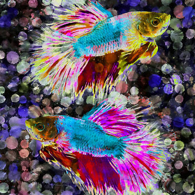 Siamese Fighting Fish Mixed Media - Siamese Fighting Fish by Stacey Chiew