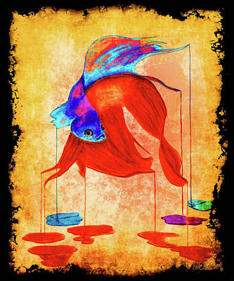 Siamese Fighting Fish Painting - Siamese Fighting Fish Vibrant 2 by Ken Figurski