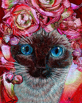Mixed Media - Siamese Kitty Valentine by Michele Avanti