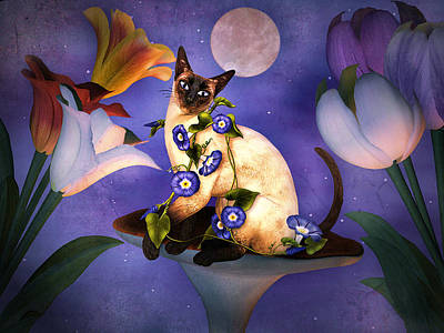Morning Star Mixed Media - Siamese Moonlight by Elaine Manley