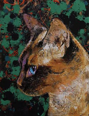 Persian Cat Wall Art - Painting - Siamese Portrait by Michael Creese