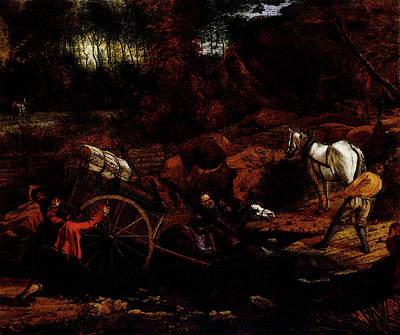 Horse And Cart Digital Art - Siberechts Jan Figures With A Cart And Horses Fording A Stream by Jan Siberechts