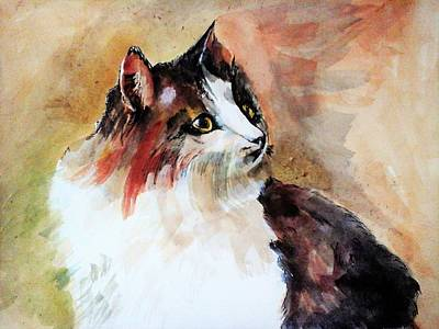 Painting - Siberian Forest Cat by Khalid Saeed