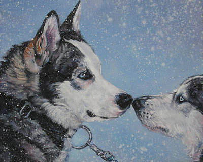 Siberian Huskies In Snow Art Print by Lee Ann Shepard