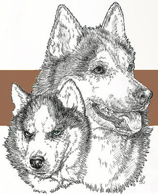 Mixed Media - Siberian Husky And Pup by Barbara Keith
