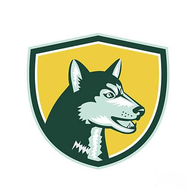 Siberian Husky Digital Art - Siberian Husky Dog Head Crest Retro by Aloysius Patrimonio