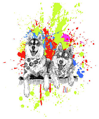 Digital Art - Siberian Husky @odin_thesiberianhusky by ZileArt