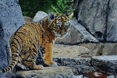 Painting - Siberian Tiger Cub by Vicky Path