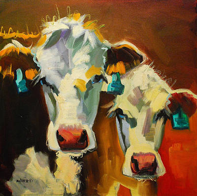 Cow Wall Art - Painting - Sibling Cows by Diane Whitehead