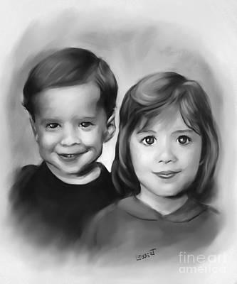 Drawing - Siblings by Dave Luebbert