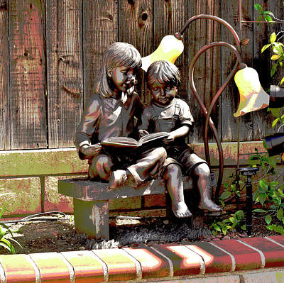 Brothers And Sisters Digital Art - Siblings Reading Statue Artistic by Linda Brody