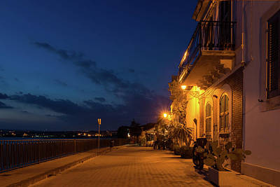 Photograph - Sicilian Blue Hour At Syracuse Seaside Promenade by Georgia Mizuleva