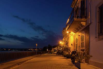 Photograph - Sicilian Blue Hour At Syracuse Seaside Promenade by Georgia Mizuleva
