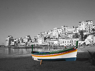 Sicily Fishing Boat  Art Print by Jim Kuhlmann