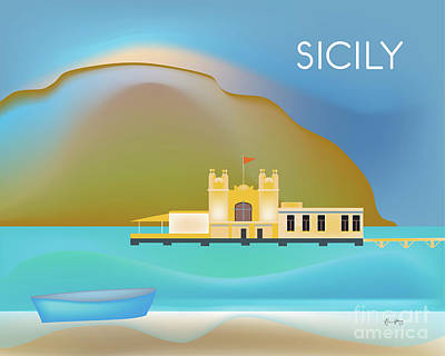 Sicily Italy Horizontal Scene Art Print by Karen Young