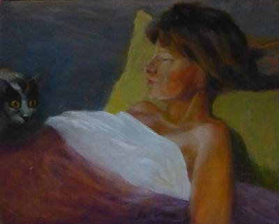 Painting - Sick Girl And Her Cat by Irena Jablonski