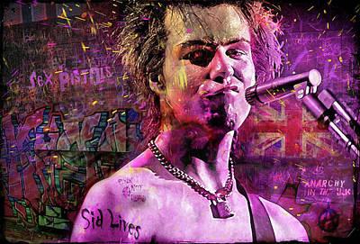 Sid Vicious Digital Art - Sid Lives by Mal Bray