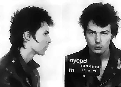 Musicians Mixed Media Rights Managed Images - Sid Vicious Mugshot Royalty-Free Image by Dan Sproul
